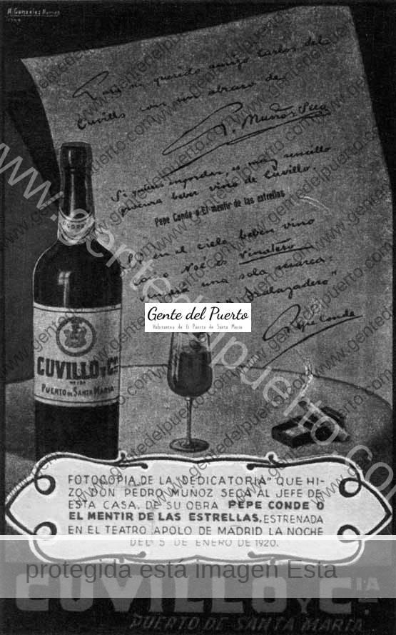 2.826. Dedicatoria de Muñoz Seca a Bodegas Cuvillo.