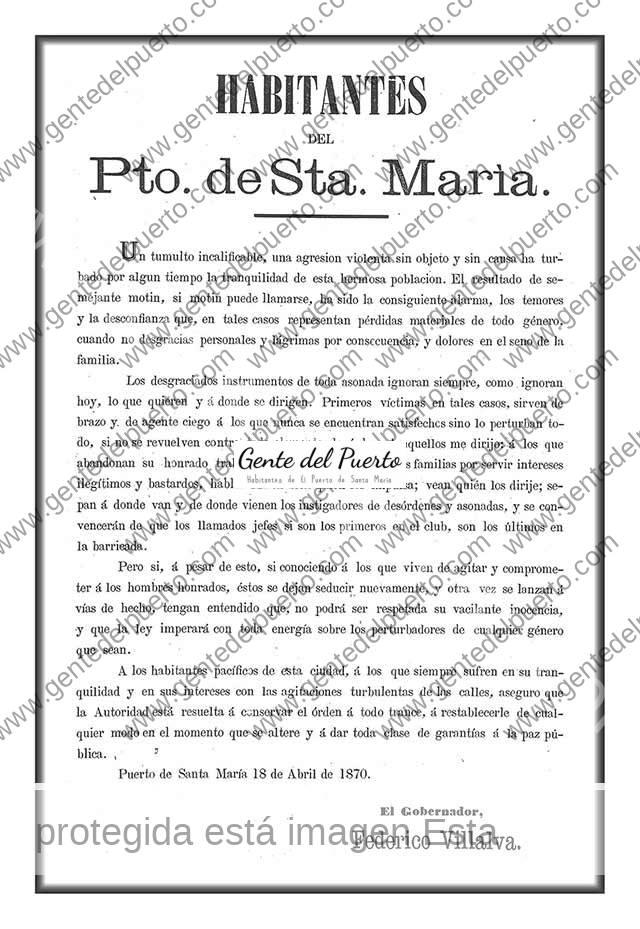 2.949. Habitantes de El Puerto ante el tumulto de 1870