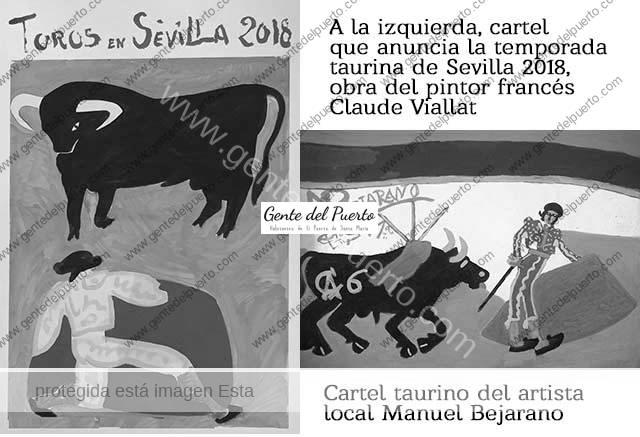 3.532. El cartel taurino de la Feria de Sevilla 2018 y los pintores Claude Viallat y Manuel Bejarano