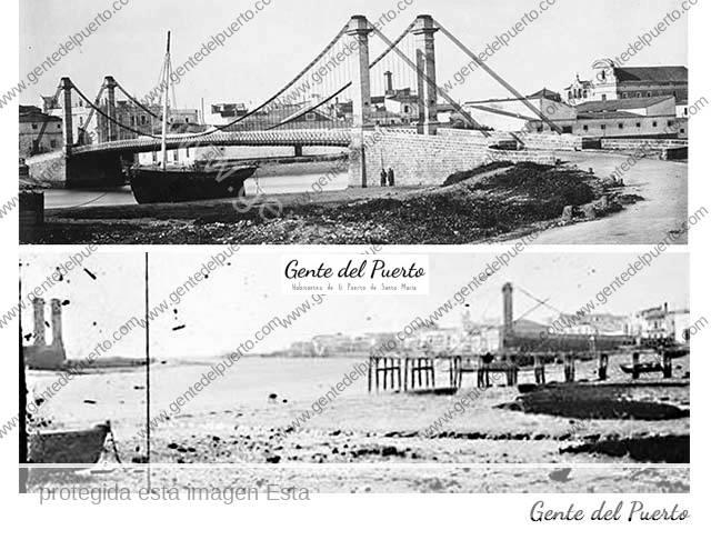 4.162. J.Laurent. Fotografió el puente colgante del XIX antes y después de su desplome