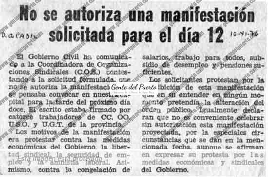 4.687. 'Jornada de Lucha' durante la Transición. 12 de noviembre de 1976